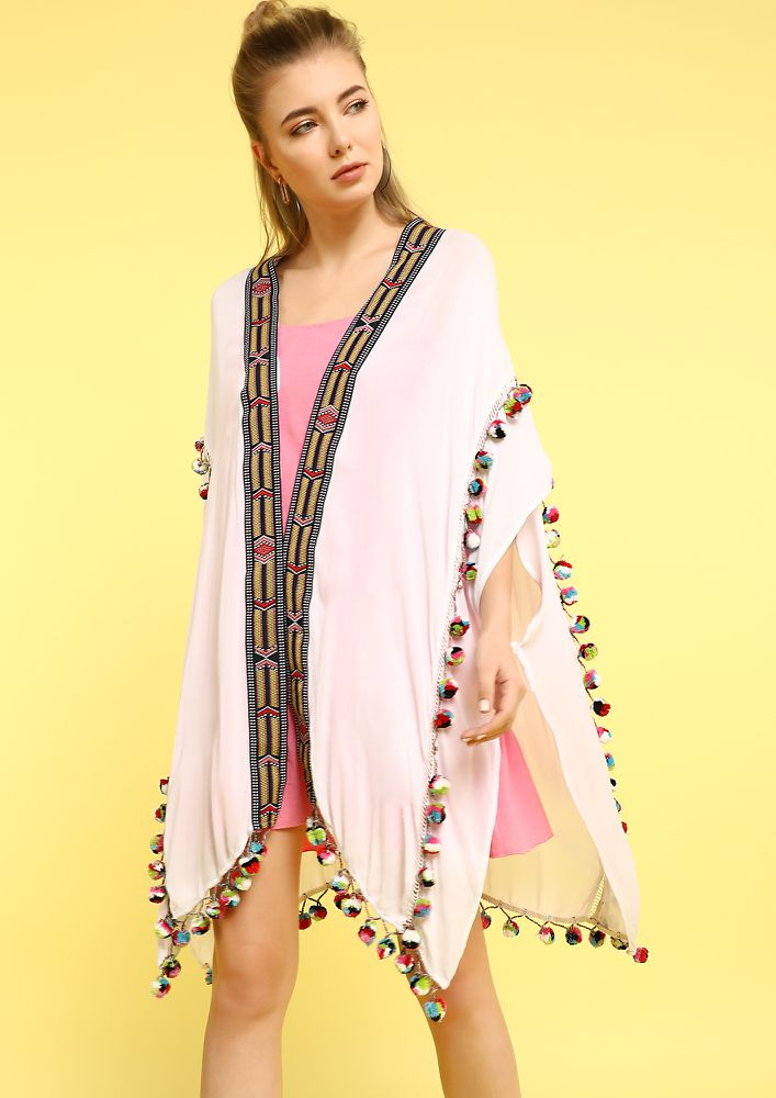 CARRYING A RAINBOW WHITE COVER UP