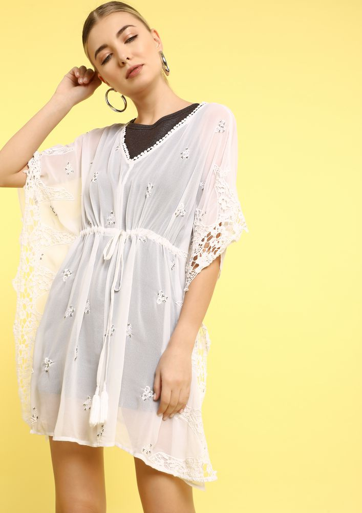 SHEER LOVE FOR BEACHES WHITE COVER UP