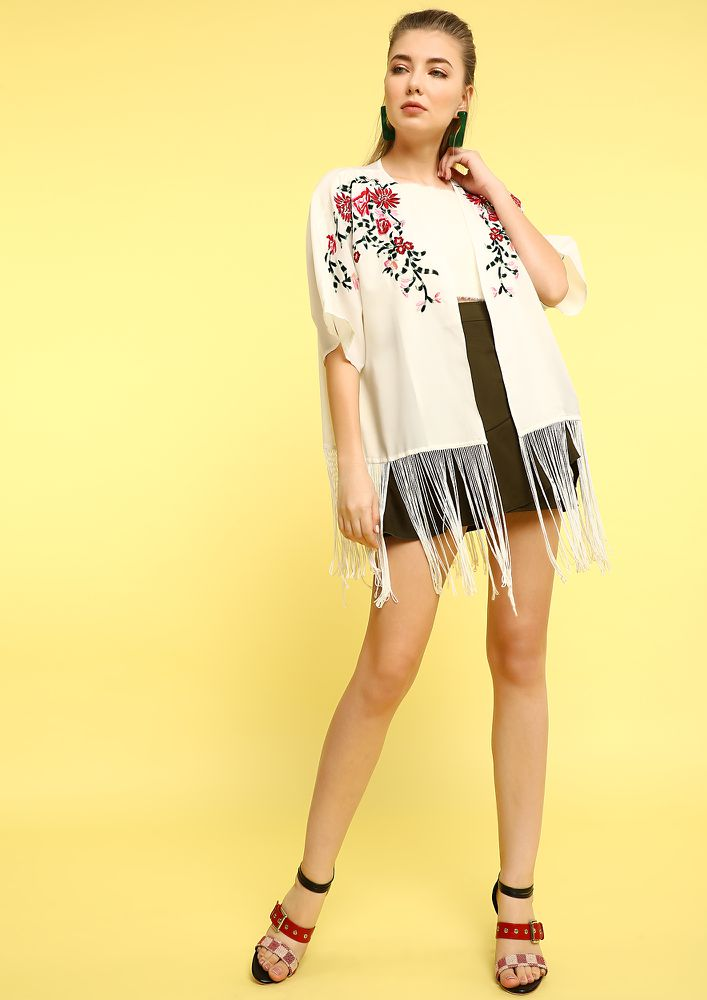 GOING CRAY WITH FRINGES WHITE SHRUG