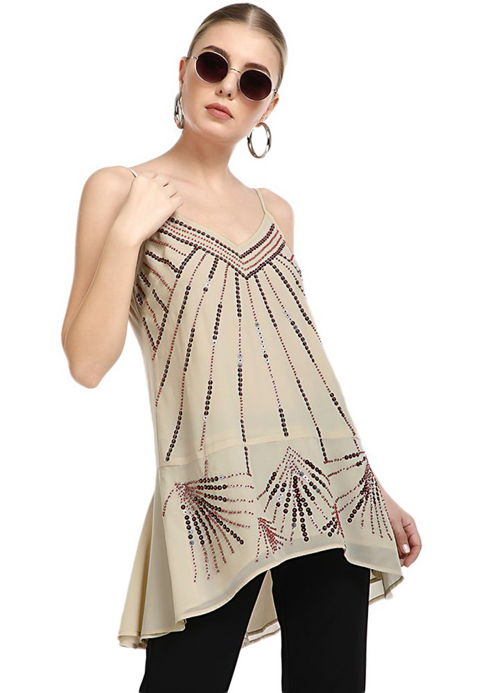 THE STUNNER IS HERE BEIGE TUNIC TOP