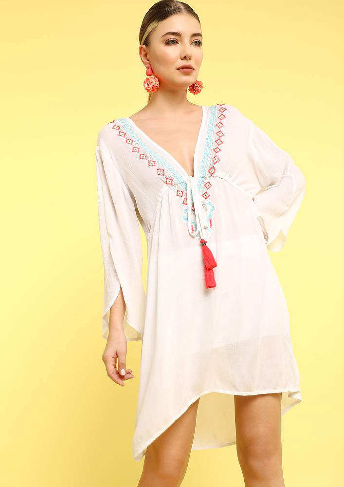 WEEKEND THRILLS WHITE COVER UP DRESS