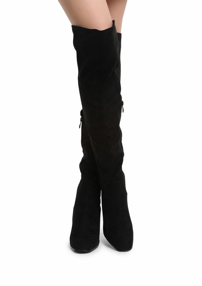 BLACK THIGH HIGH HEELED BOOTS for Women