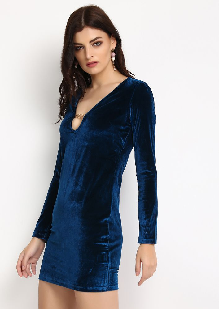 DEEPER AND DEEPER V NECK VELVET BLUE DRESS