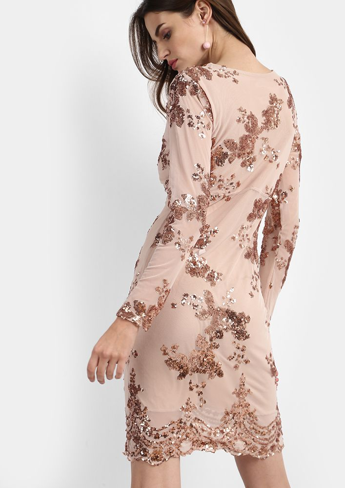 Buy Oh So Rose Sequined Dress For Women Online In India