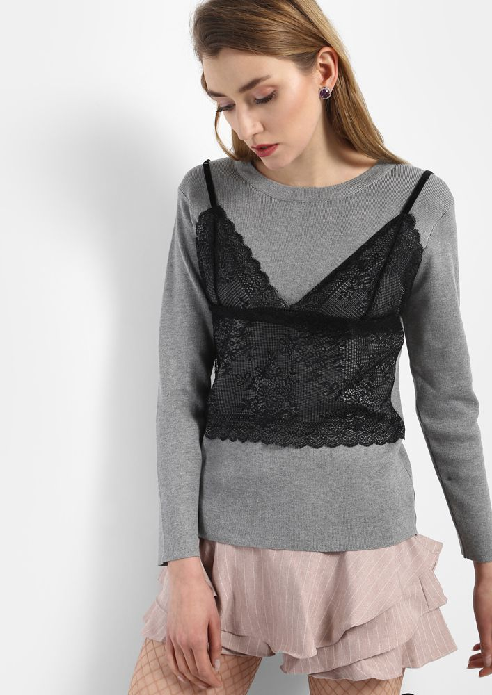 MAKE IT TWO WITH CAMI ON GREY T-SHIRT