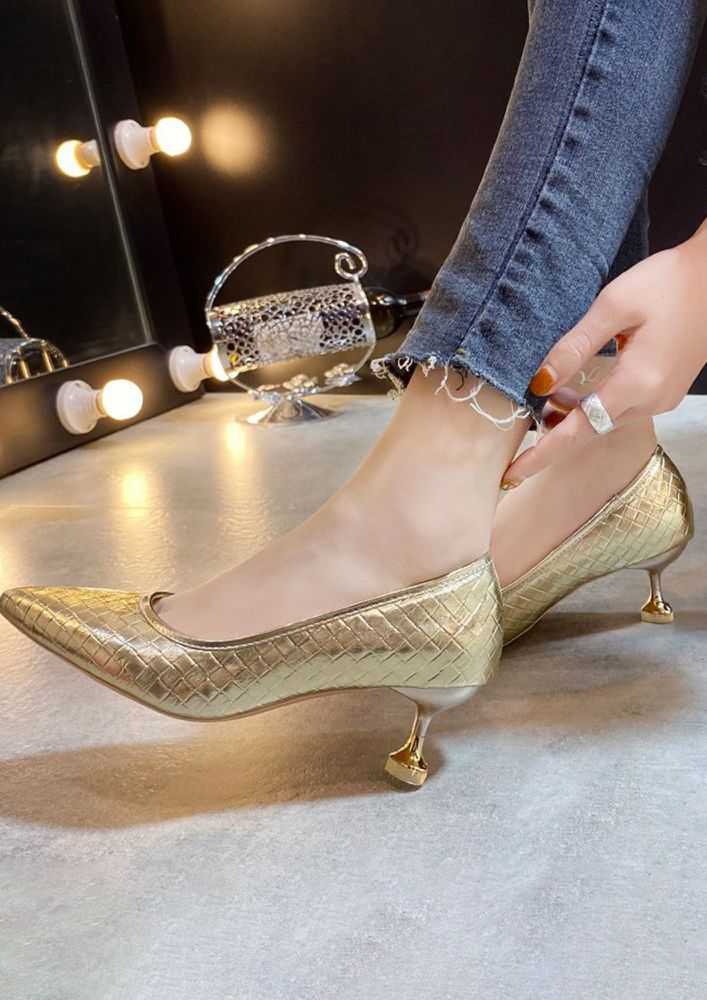 CAUGHT UP IN GOLD HEELED SANDALS