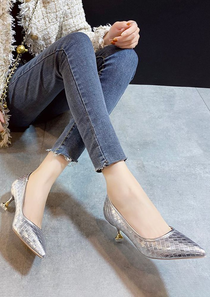 SHINING YOUR WAY SILVER PUMPS AND PEEP TOES