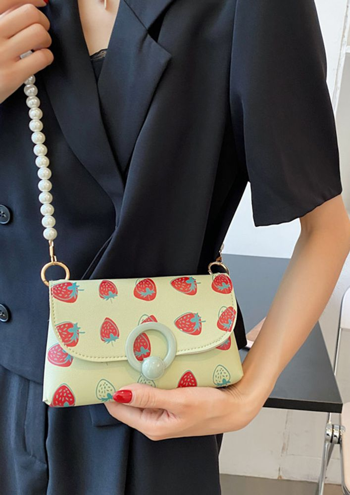 STRAWBERRY MY FAVOURITE GREEN SLING BAG